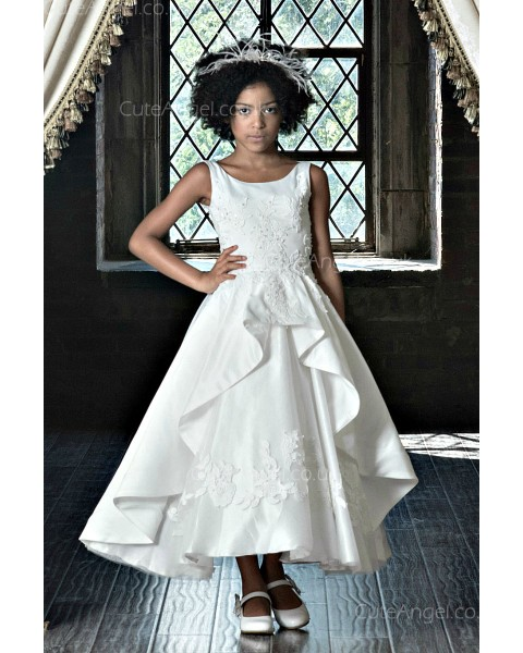 Girls Dress Style 0622618 Ivory Tea-length Applique Bateau A-line Dress in Choice of Colour