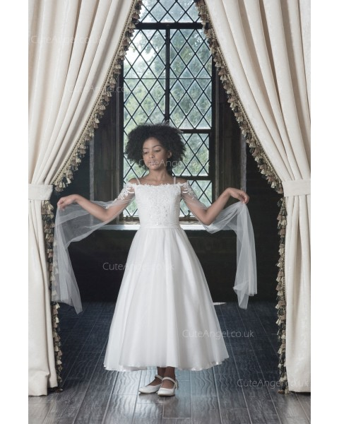 Girls Dress Style 0622718 Ivory Tea-length Applique Bateau A-line Dress in Choice of Colour