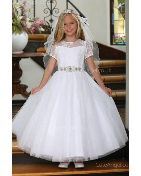 Girls Dress Style 062318 White Floor-length Lace , Beading , Bowknot Bateau A-line Dress in Choice of Colour
