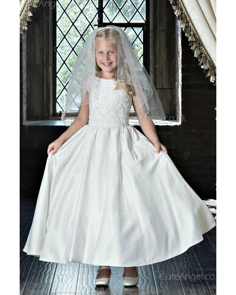Girls Dress Style 0623218 Ivory Ankle Length Applique Bateau A-line Dress in Choice of Colour