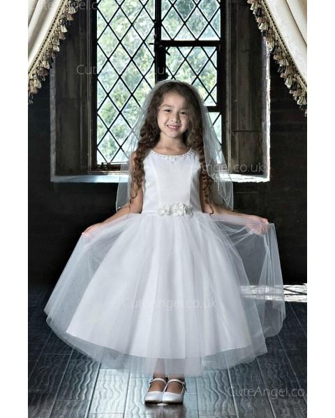 Girls Dress Style 0623518 Ivory Tea-length Beading , Hand Made Flower Bateau A-line Dress in Choice of Colour