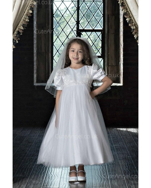 Girls Dress Style 0623618 Ivory Ankle Length Lace Round A-line Dress in Choice of Colour