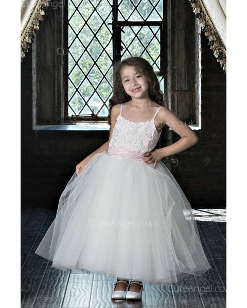 Girls Dress Style 0623818 Ivory Ankle Length Lace Bateau Ball Gown Dress in Choice of Colour