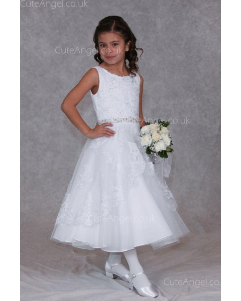 Girls Dress Style 0624418 Ivory Ankle Length Lace , Beading , Tiered Bateau A-line Dress in Choice of Colour
