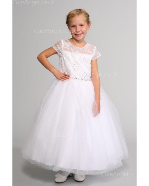 Girls Dress Style 0624518 Ivory Ankle Length Beading , Bowknot Round A-line Dress in Choice of Colour