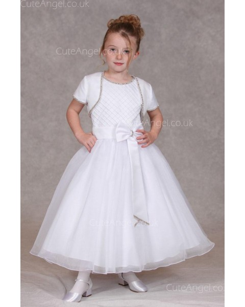 Girls Dress Style 0624718 Ivory Ankle Length Bowknot Bateau A-line Dress in Choice of Colour