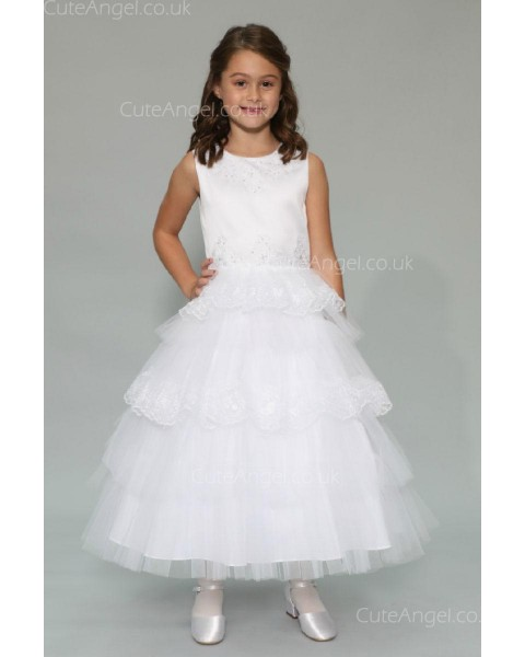 Girls Dress Style 0625018 Ivory Ankle Length Lace , Beading , Tiered Bateau A-line Dress in Choice of Colour