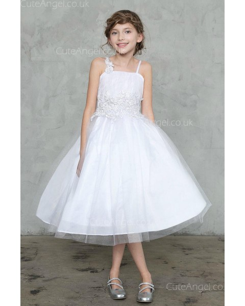 Girls Dress Style 0626118 Ivory Tea-length Applique Strapless 露背 Ball Gown Dress in Choice of Colour