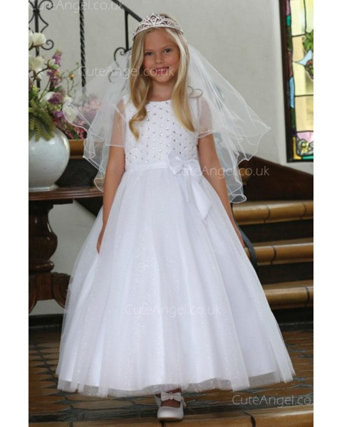 Girls Dress Style 062618 Ivory Floor-length Beading Bateau A-line Dress in Choice of Colour