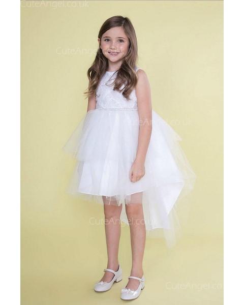 Girls Dress Style 0626418 White Mini Lace , Beading Bateau Princess Dress in Choice of Colour