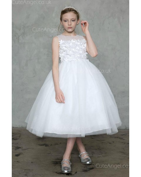 Girls Dress Style 0626518 Ivory Tea-length Hand Made Flower Bateau Ball Gown Dress in Choice of Colour