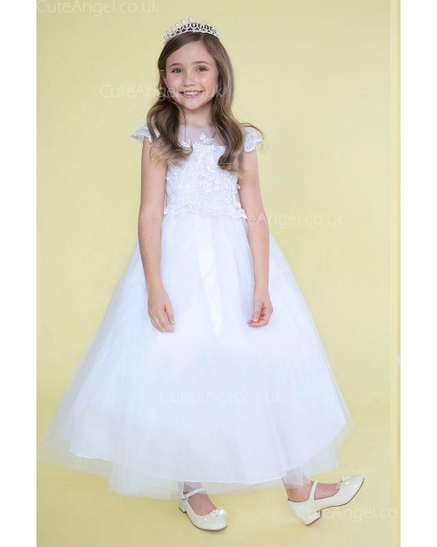 Girls Dress Style 0626618 Ivory Ankle Length Lace Bateau A-line Dress in Choice of Colour