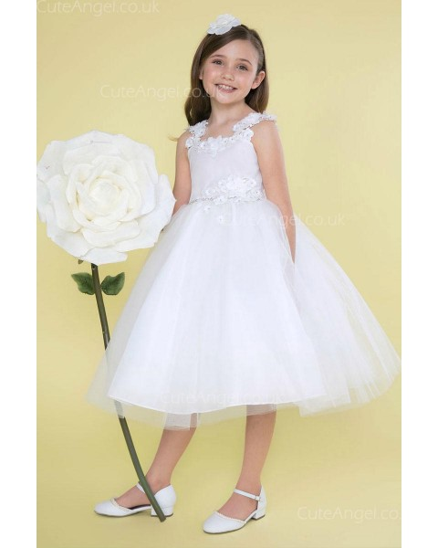 Girls Dress Style 0626718 White Knee-Length hand Made Flower Bateau A-line Dress in Choice of Colour