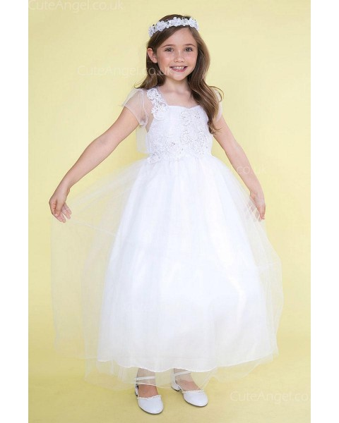Girls Dress Style 0626818 White Ankle Length Lace Sweetheart A-line Dress in Choice of Colour