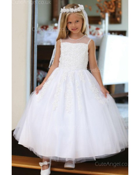 Girls Dress Style 062718 Ivory Floor-length Applique Bateau A-line Dress in Choice of Colour