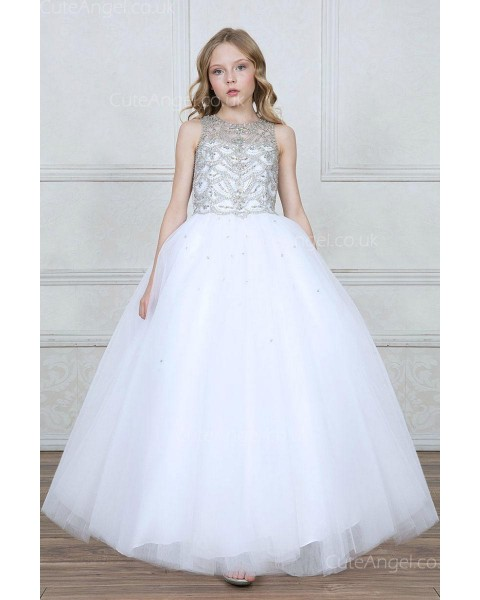 Girls Dress Style 0627218 White Floor-length Beading Bateau Ball Gown Dress in Choice of Colour