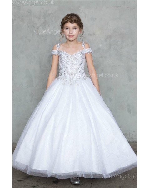 Girls Dress Style 0627418 Ivory Floor-length Beading V-neck A-line Dress in Choice of Colour