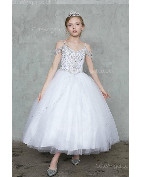 Girls Dress Style 0627618 Ivory Ankle Length Beading V-neck Ball Gown Dress in Choice of Colour