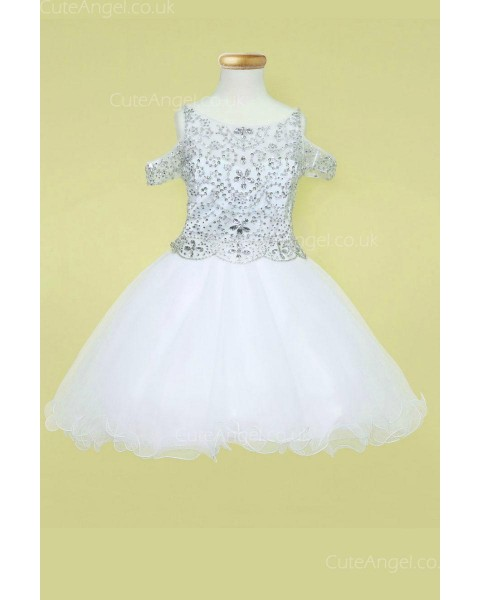 Girls Dress Style 0628318 White Mini Beading Bateau A-line Dress in Choice of Colour