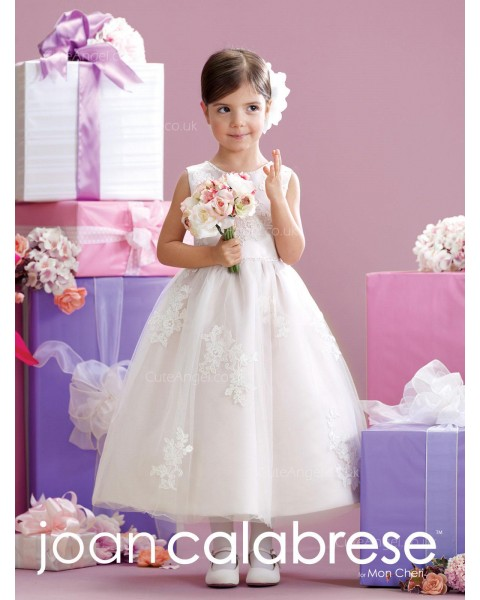 Girls Dress Style 0628518  Tea-length Applique Bateau A-line Dress in Choice of Colour