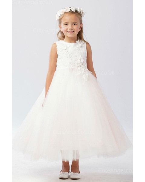 Girls Dress Style 062918 Ivory Ankle Length Applique Round A-line Dress in Choice of Colour