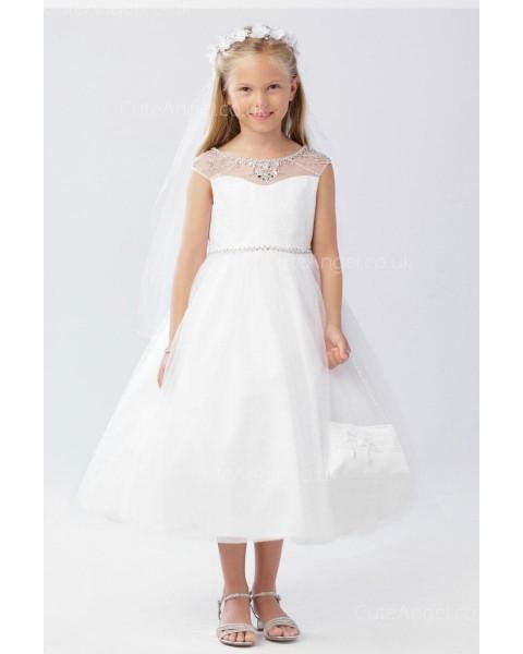 Girls Dress Style 063218 Ivory Tea-length Beading Bateau A-line Dress in Choice of Colour