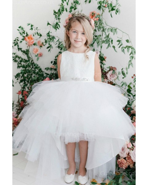 Girls Dress Style 063318 Ivory Floor-length Beading Bateau A-line Dress in Choice of Colour