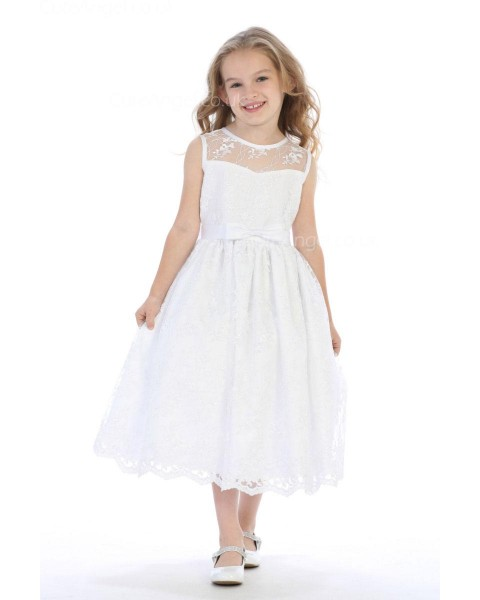 Girls Dress Style 063818 Ivory Tea-length Lace Bateau A-line Dress in Choice of Colour