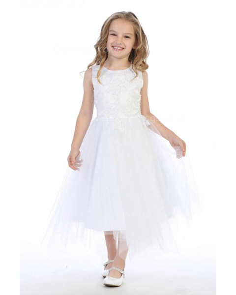 Girls Dress Style 063918 Ivory Tea-length Applique Bateau A-line Dress in Choice of Colour