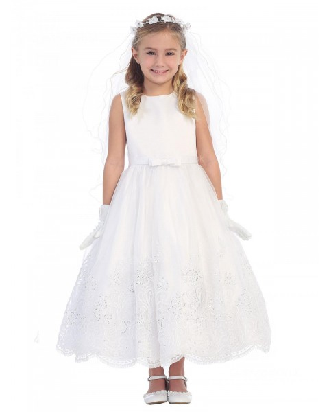 Girls Dress Style 064118 Ivory Ankle Length Lace Bateau A-line Dress in Choice of Colour