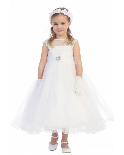 Girls Dress Style 064418 White Ankle Length Beading Bateau A-line Dress in Choice of Colour