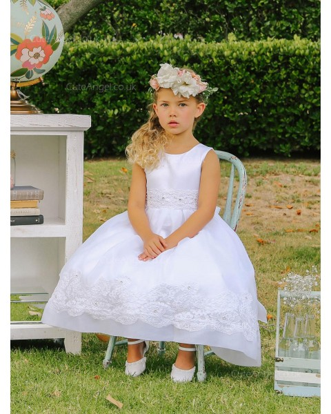 Girls Dress Style 064518 Ivory Ankle Length Applique Round A-line Dress in Choice of Colour