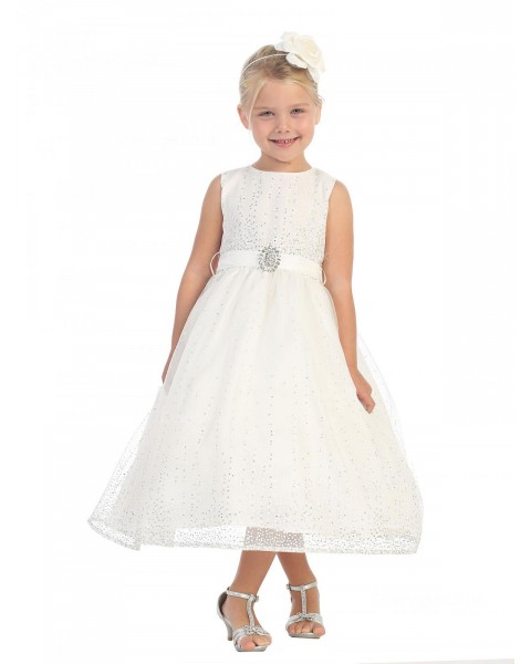 Girls Dress Style 064618 Ivory Ankle Length Beading Round A-line Dress in Choice of Colour