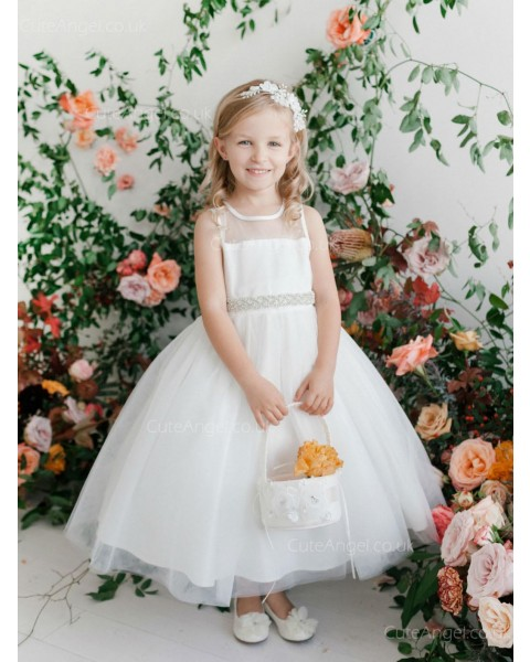 Girls Dress Style 064818 Ivory Ankle Length Beading Bateau A-line Dress in Choice of Colour