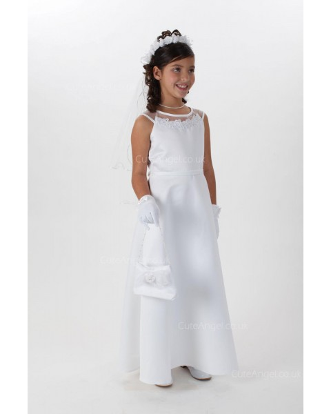 Girls Dress Style 065118 Ivory Floor-length Lace Bateau A-line Dress in Choice of Colour
