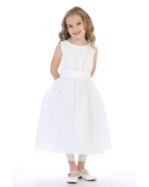 Girls Dress Style 065318 Ivory Tea-length Lace Round A-line Dress in Choice of Colour