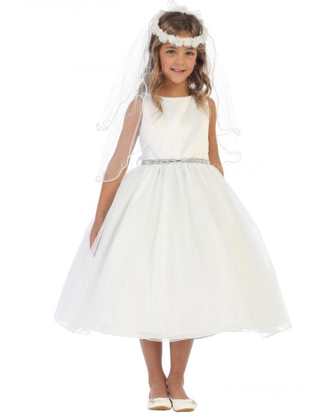 Girls Dress Style 065518 Ivory Tea-length Crystal - 水晶 Bateau A-line Dress in Choice of Colour