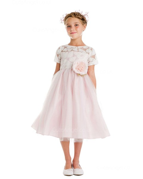 Girls Dress Style 066218 Candy Pink Floor-length hand Made Flower Bateau A-line Dress in Choice of Colour