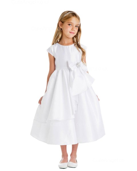 Girls Dress Style 066418 Ivory Tea-length Bowknot , Beading Bateau A-line Dress in Choice of Colour