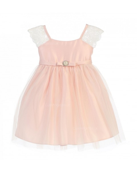 Girls Dress Style 066718 Candy Pink Knee-Length Lace Bateau A-line Dress in Choice of Colour