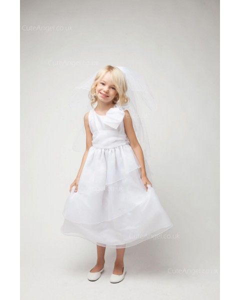Girls Dress Style 067218 White Tea-length Tiered Round A-line Dress in Choice of Colour