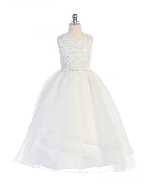 Girls Dress Style 067418 Ivory Floor-length Beading Round A-line Dress in Choice of Colour