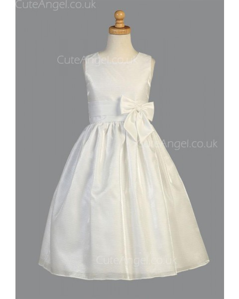 Girls Dress Style 067618 Ivory Floor-length Bowknot Bateau A-line Dress in Choice of Colour