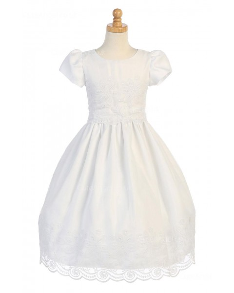 Girls Dress Style 067718 Ivory Floor-length Lace Round A-line Dress in Choice of Colour