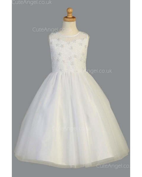 Girls Dress Style 068118 Ivory Floor-length Beading Bateau A-line Dress in Choice of Colour