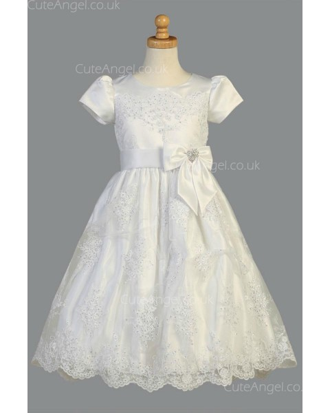 Girls Dress Style 068218 Ivory Floor-length Lace , Beading , Applique Bateau A-line Dress in Choice of Colour