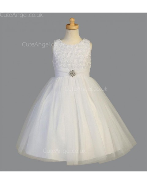 Girls Dress Style 068318 Ivory Floor-length Hand Made Flower , Beading Round A-line Dress in Choice of Colour