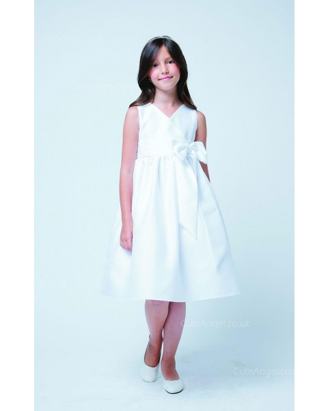Girls Dress Style 068718 Ivory Knee-Length Bowknot V-neck A-line Dress in Choice of Colour
