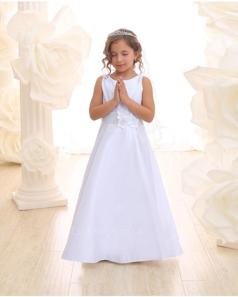 Girls Dress Style 068818 Ivory Floor-length hand Made Flower Bateau A-line Dress in Choice of Colour