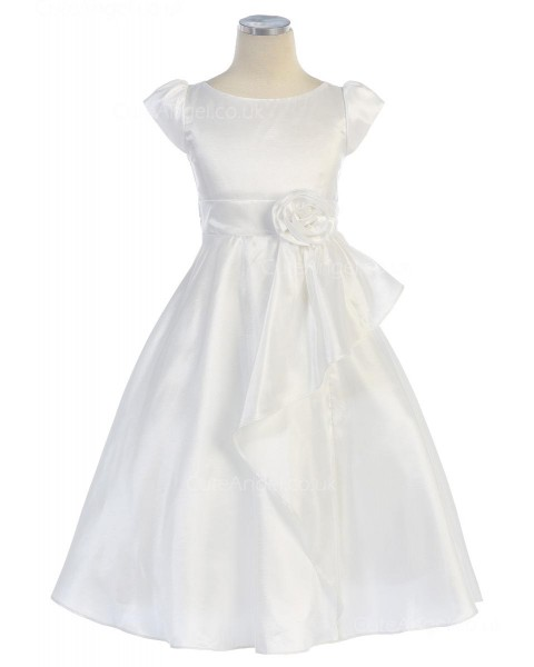 Girls Dress Style 068918 Ivory Floor-length hand Made Flower Bateau A-line Dress in Choice of Colour